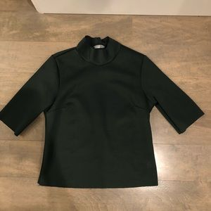 NEW ZARA Green Turtleneck Short Sleeve Crop Top S